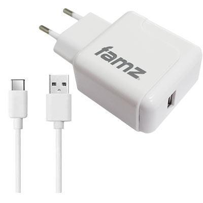 27987 cargador de red universal usb 2000mah cable de datos usb tipo c color blanco
