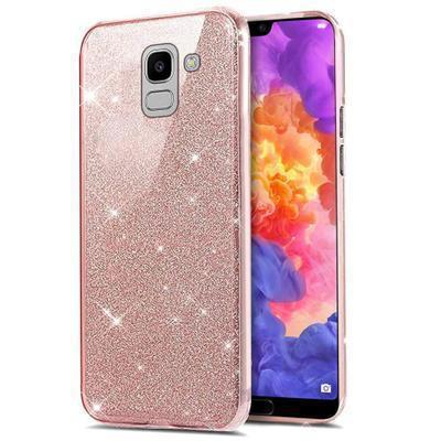 None funda silicona gel samsung galaxy j6 2018 brillo rosa
