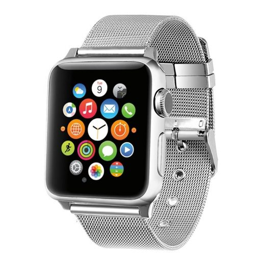 PRATEADO Pulseira Bracelete Milanesa para Apple Watch 42mm 38mm Aco